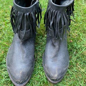Black fringe Anthropologie booties
